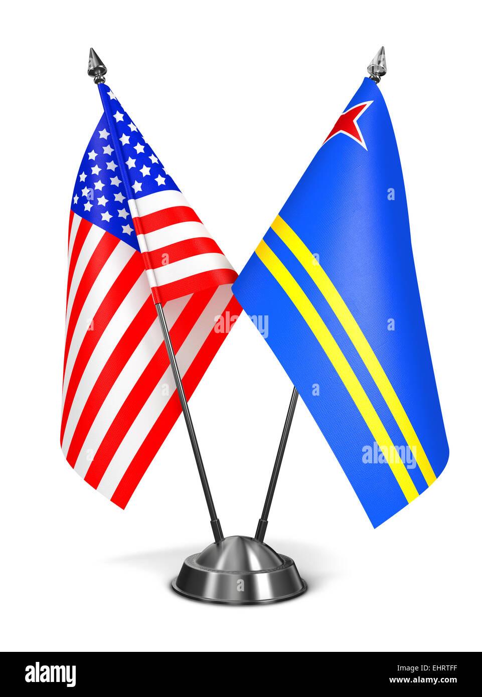 USA and Aruba - Miniature Flags. Stock Photo