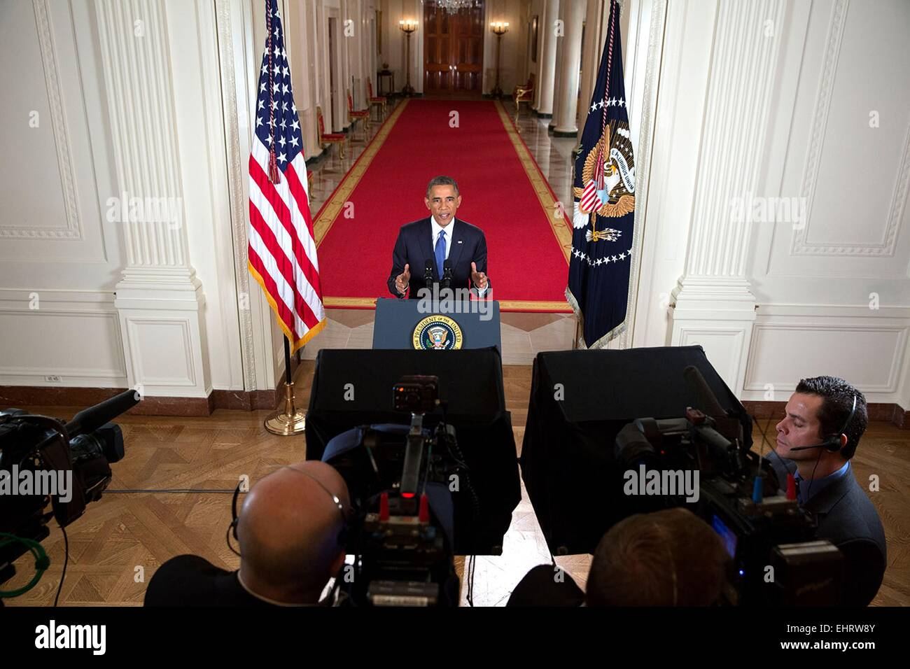 US President Barack Obama delivers an address to the nation on immigration from the East Room of the White House - Stock Image