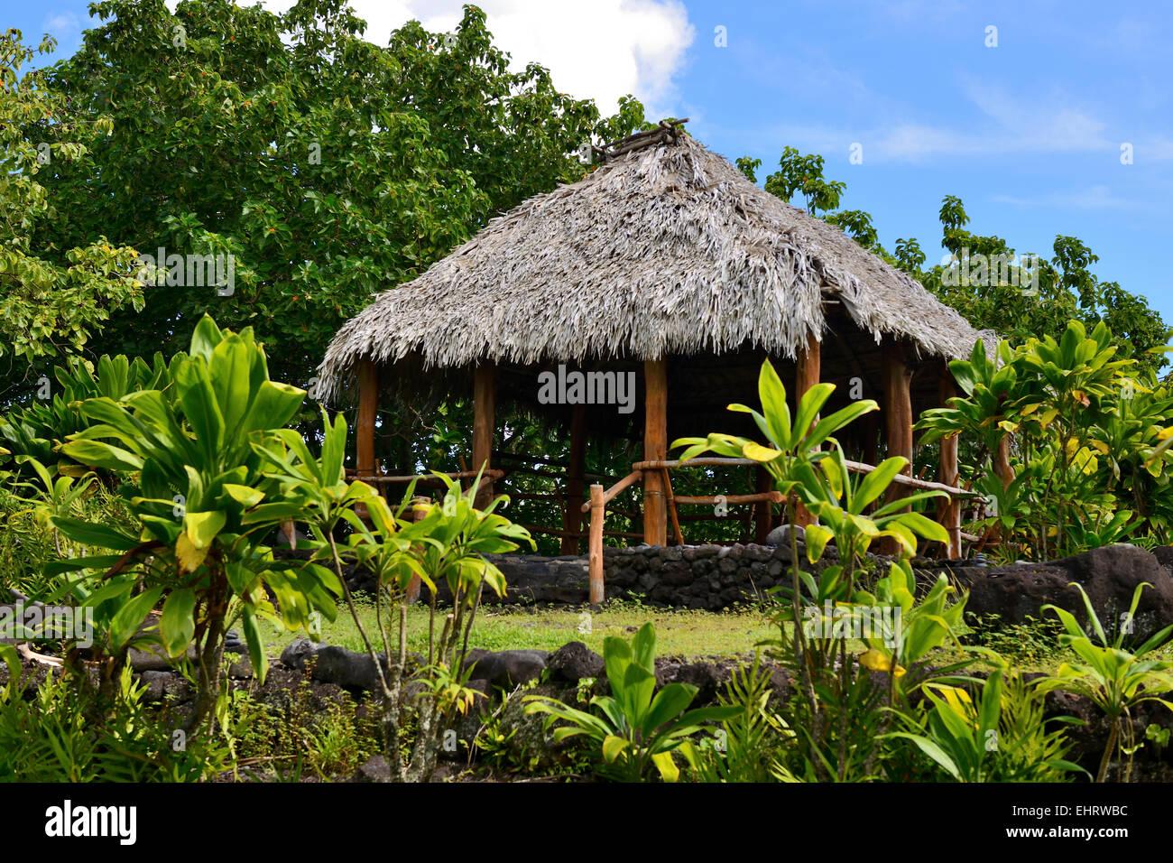 Hale Ho'okipa or welcome house within Kahanu Garden National Tropical Botanical Garden, Hana Coast, Maui, Hawaii, - Stock Image