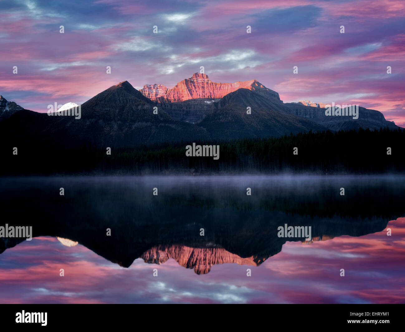 Herbert Lake with Mt. Temple reflection and sunrise. Banff National Park, Alberta, Canada - Stock Image
