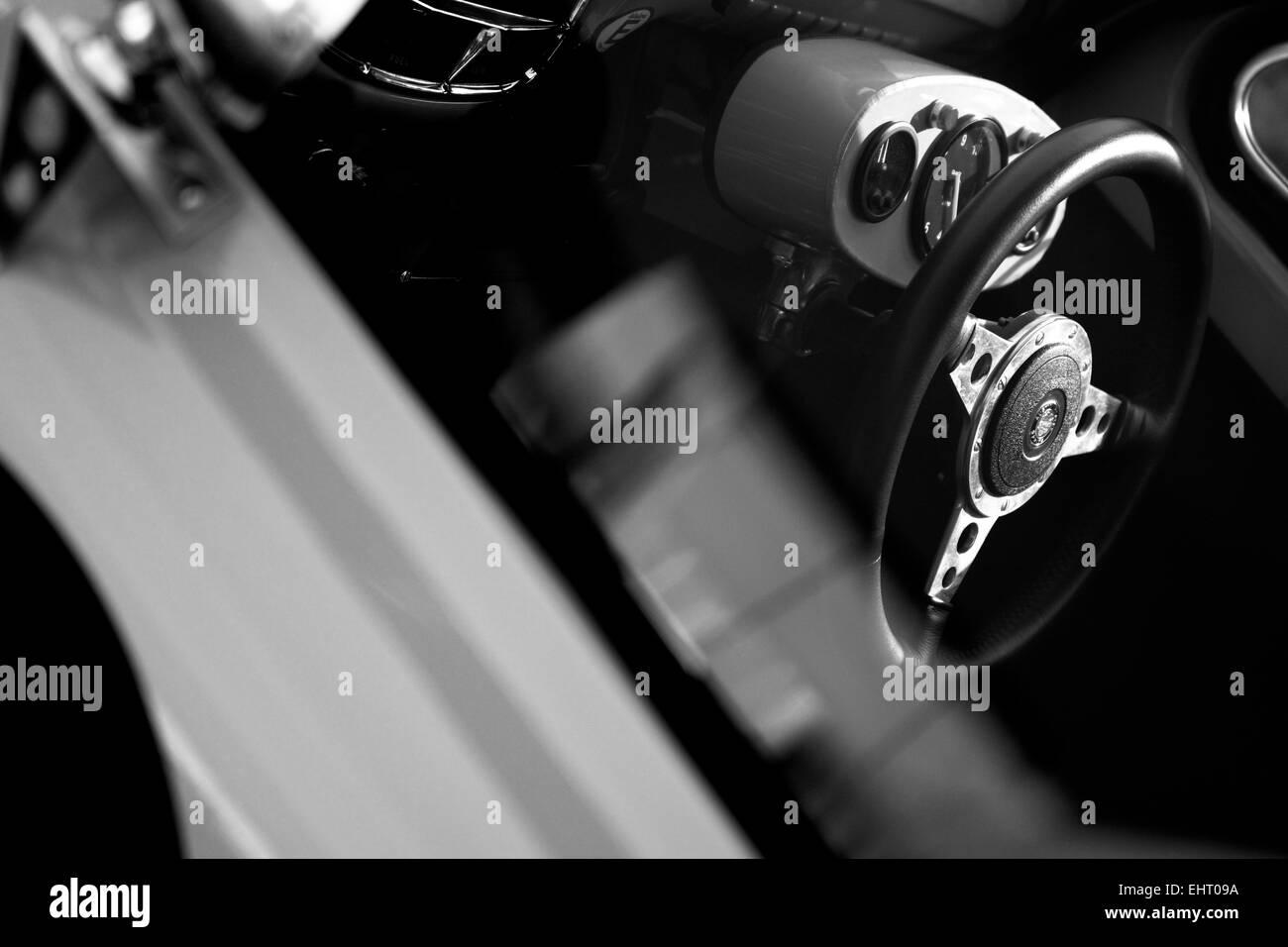 Classic Jaguar E Type Interior, shot in Black and White Stock Photo