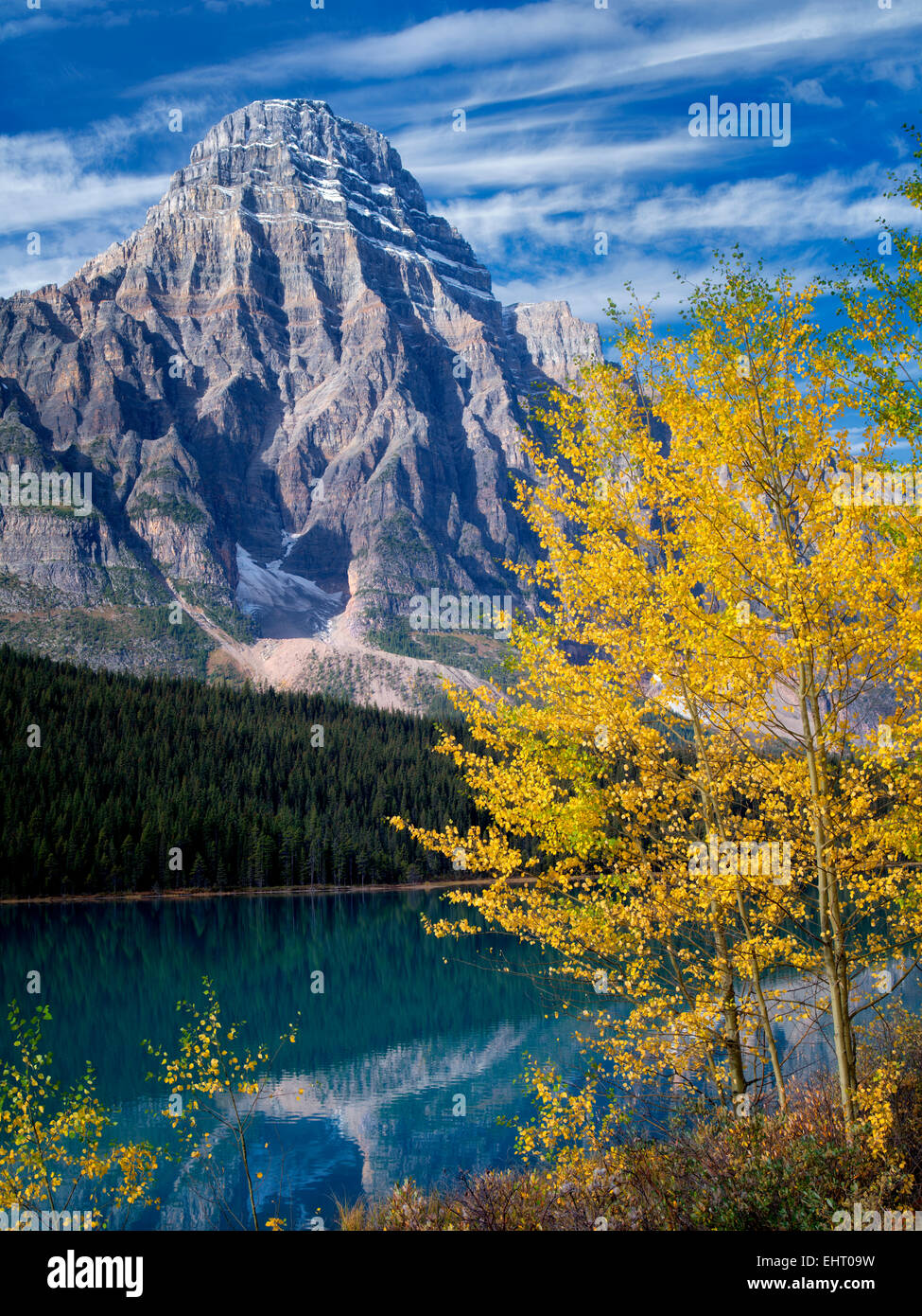 Waterfaowl Lakes and Mt. Chephren with fall colored aspens.  Banff National Park. Alberta, Canada - Stock Image