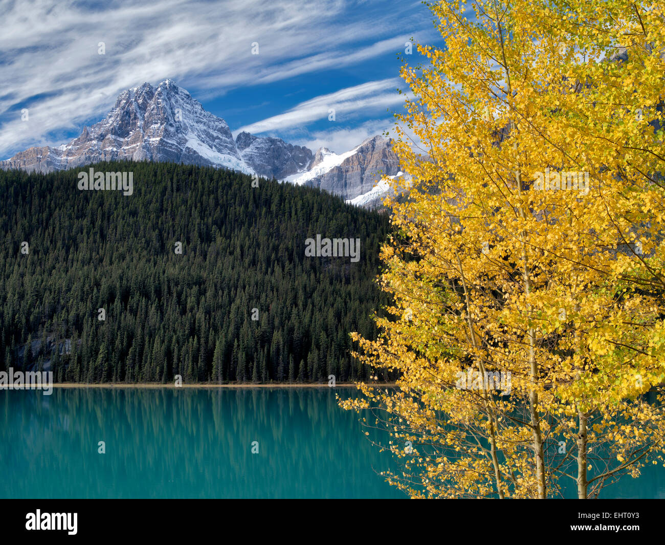 Waterfall Lakes and House Peake with fall colored aspens. Banff National Park. Alberta, Canada Stock Photo