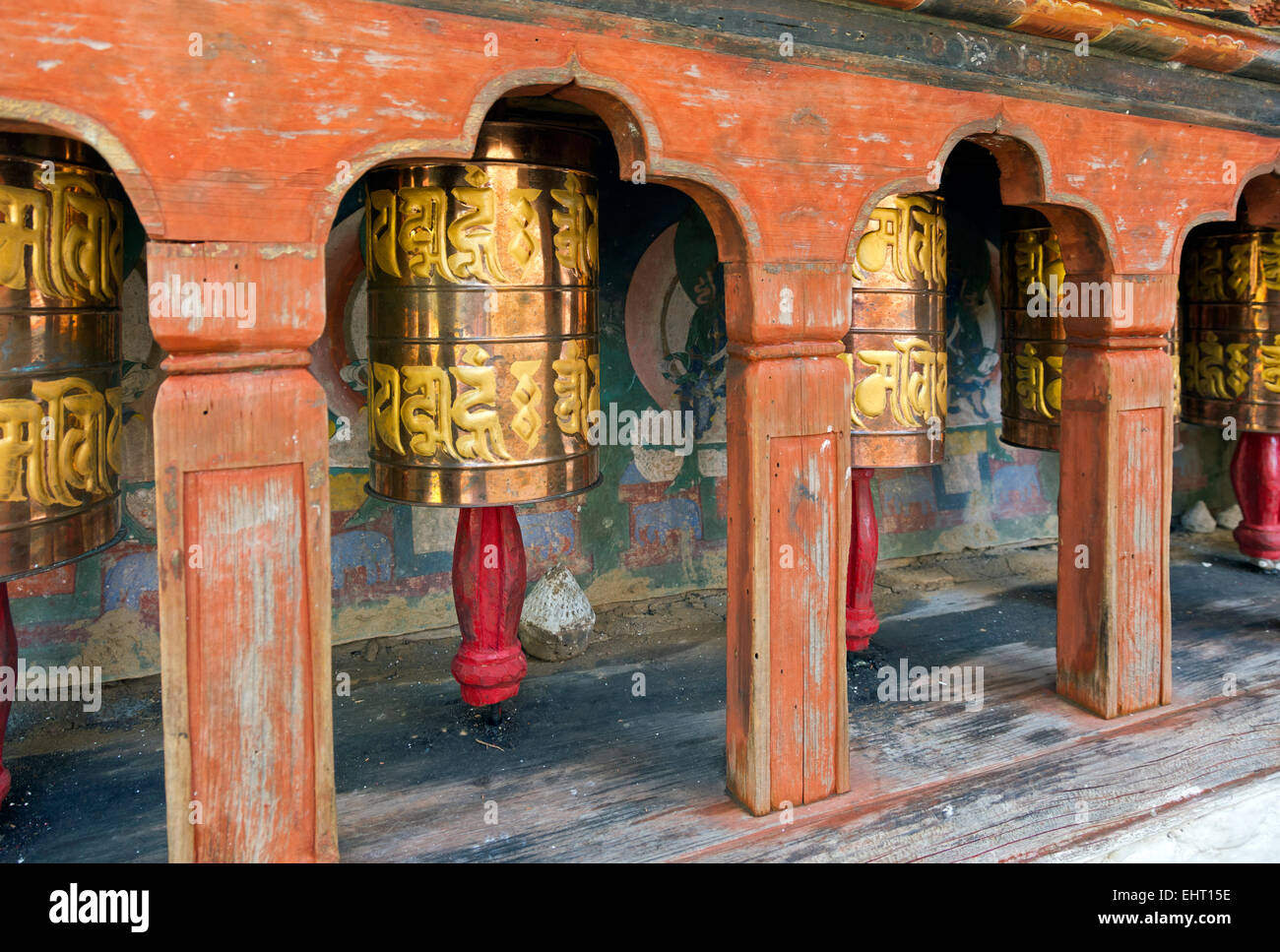 BU00367-00...BHUTAN - Prayer wheels at Kyichu Lhakhang near Paro, one of the oldest Temples in Bhutan. - Stock Image