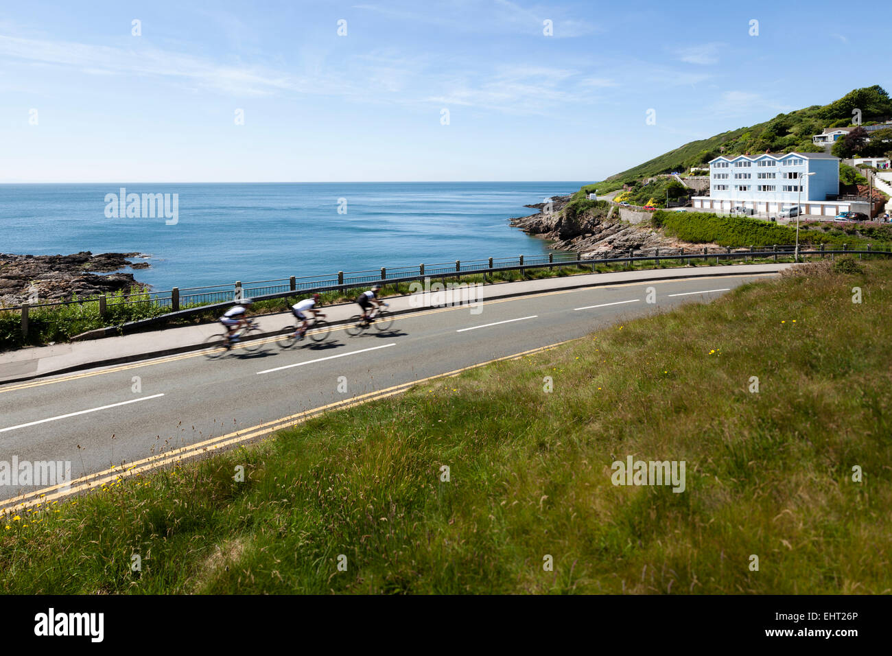 Cycling Gower Peninsula, West Wales, United Kingdom - Stock Image