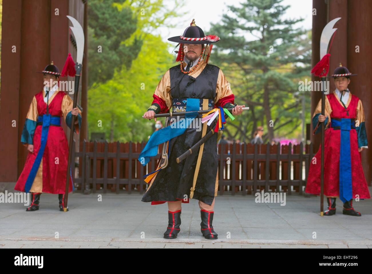 Asia, Republic of Korea, South Korea, Seoul, Deoksugung palace, changing of the guards ceremony Stock Photo