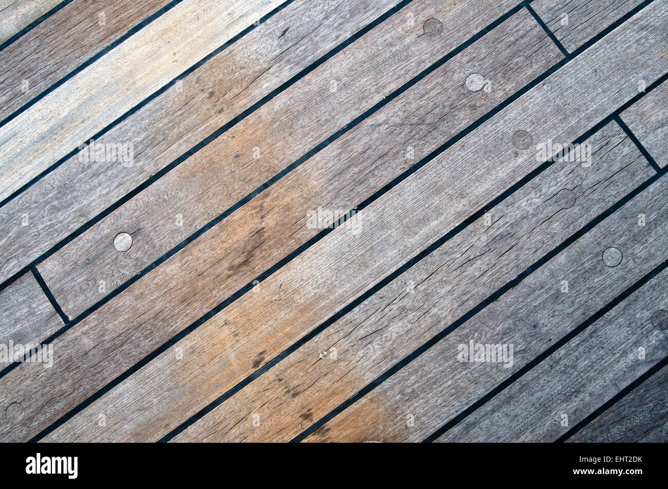 Deck of an ancient sailing vessel, close up - Stock Image