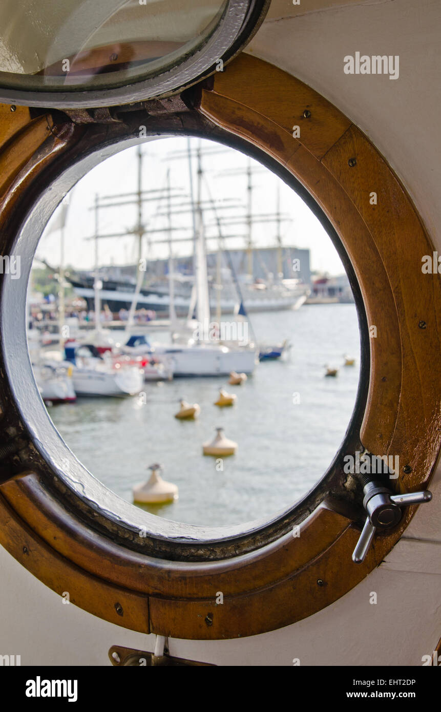 Window of the ship, close up - Stock Image