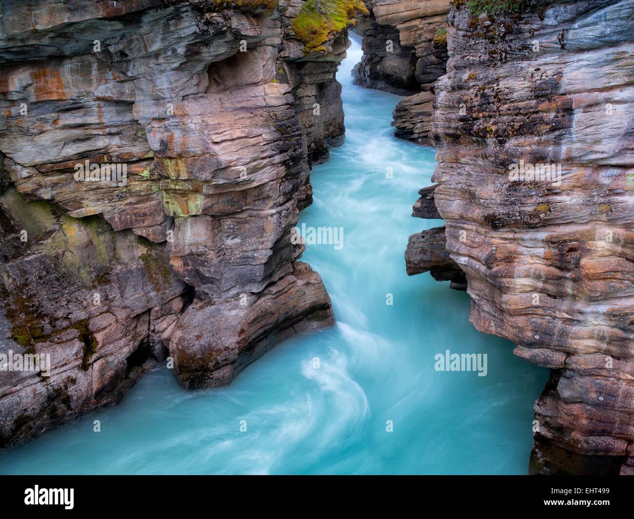 Narow canyon at Athebasca Falls. Jasper National Park, Alberta, Canada - Stock Image