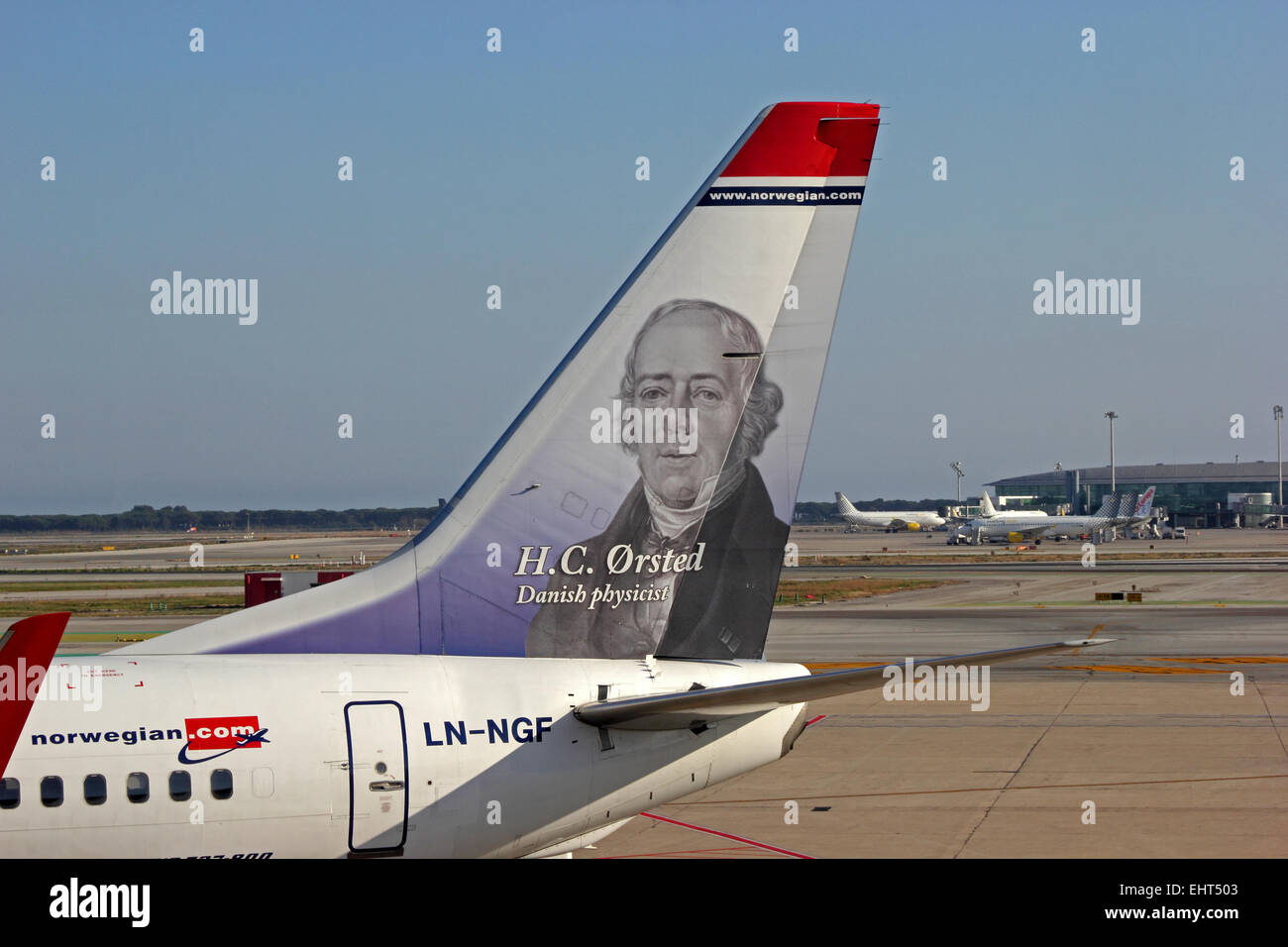 Portrait of H C Orsted on tailplane of Norwegian Air Shuttle Boeing 737-800 - Stock Image