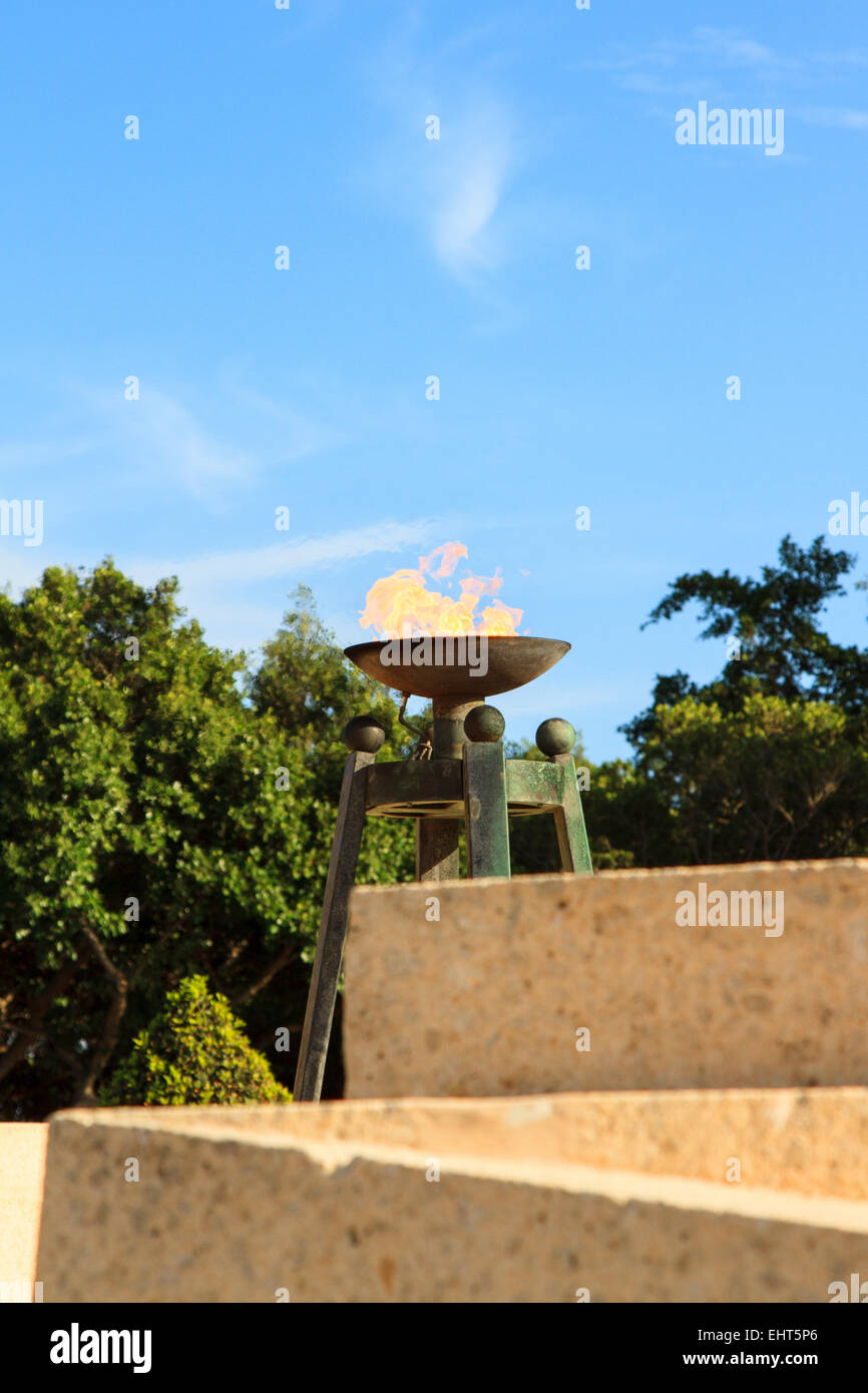 Permanent flame at the Second World War Memorial Floriana Valletta Malta - Stock Image