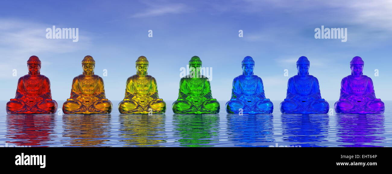 Seven small buddhas in chakra colors meditating upon water by day - 3D render - Stock Image