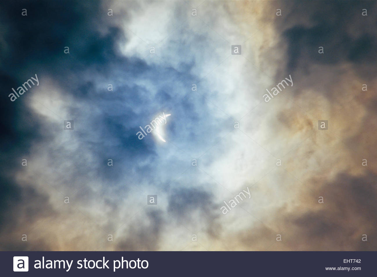 Near-total eclipse of the sun; Wales, UK - Stock Image