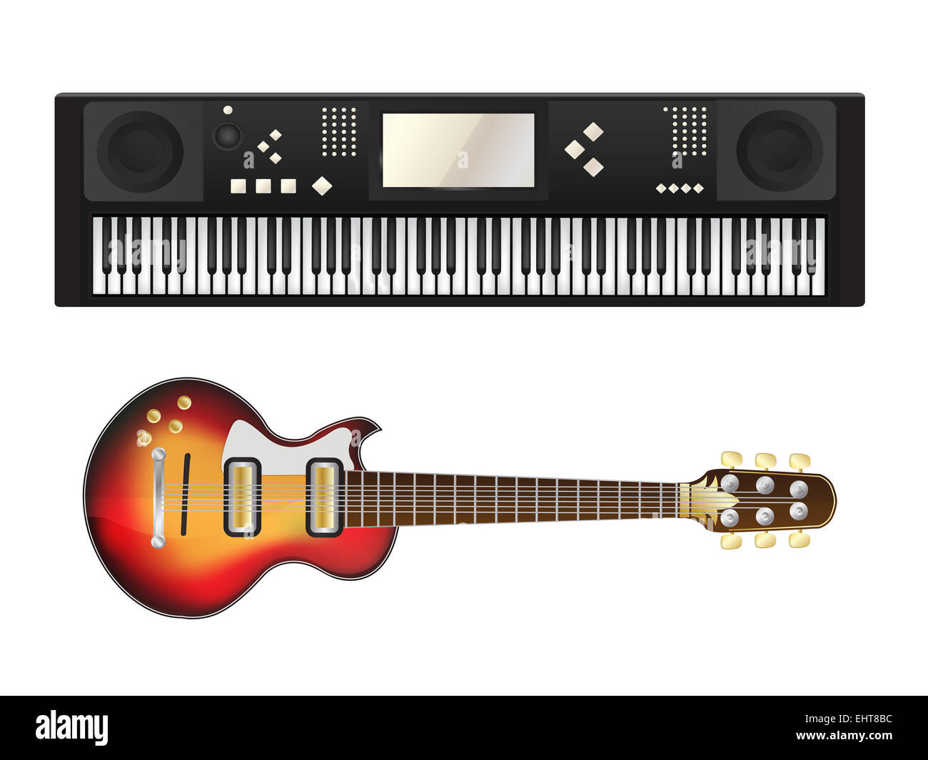 Electric guitar and synthesizer - Stock Image