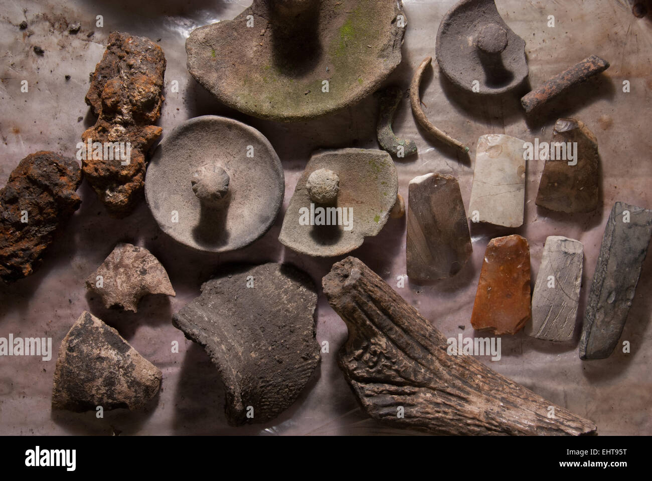 Protohistory (earlyhistory) tools excavated in Buni village, West Java province, Indonesia. - Stock Image