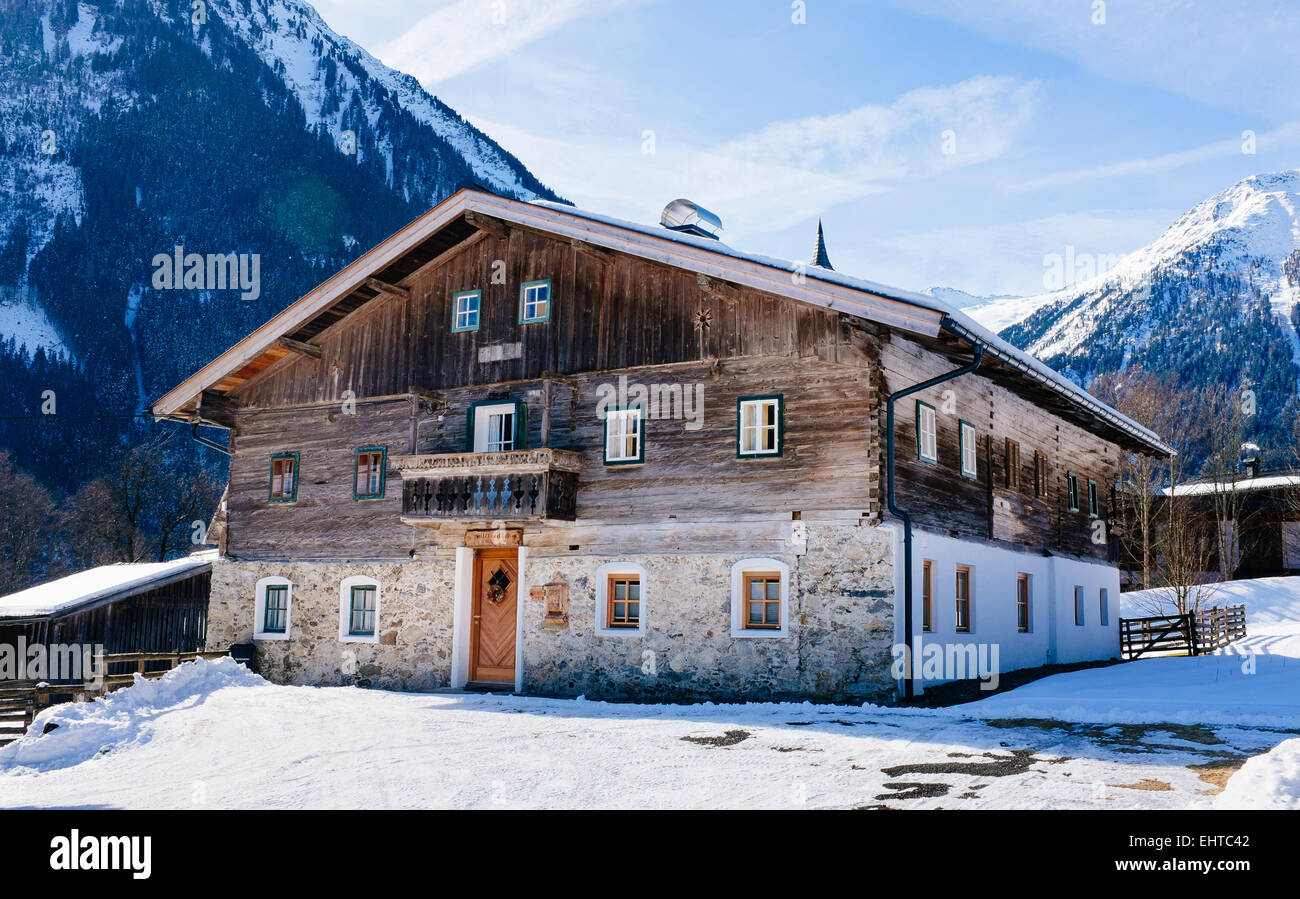 Old Alpine wodden house behind the Gerlos Pass at the entrance of Pinzgau valley. Tirol , Austria - Stock Image