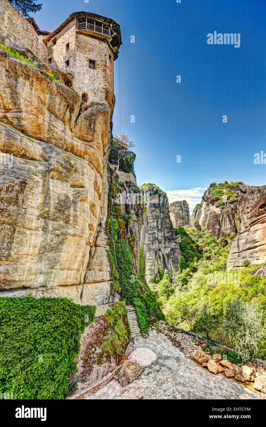 The lift of Varlaam Monastery in the Meteora Monastery complex in Greece. - Stock Image