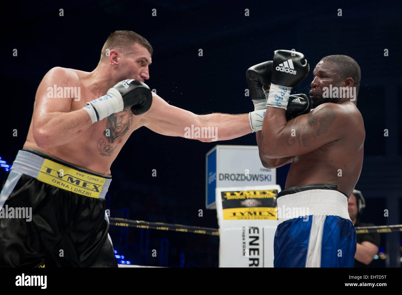 LUBIN, POLAND - MARCH 14, 2015: Professional boxing fight in heavy weight  between Mariusz Wach (black short) and - Stock Image