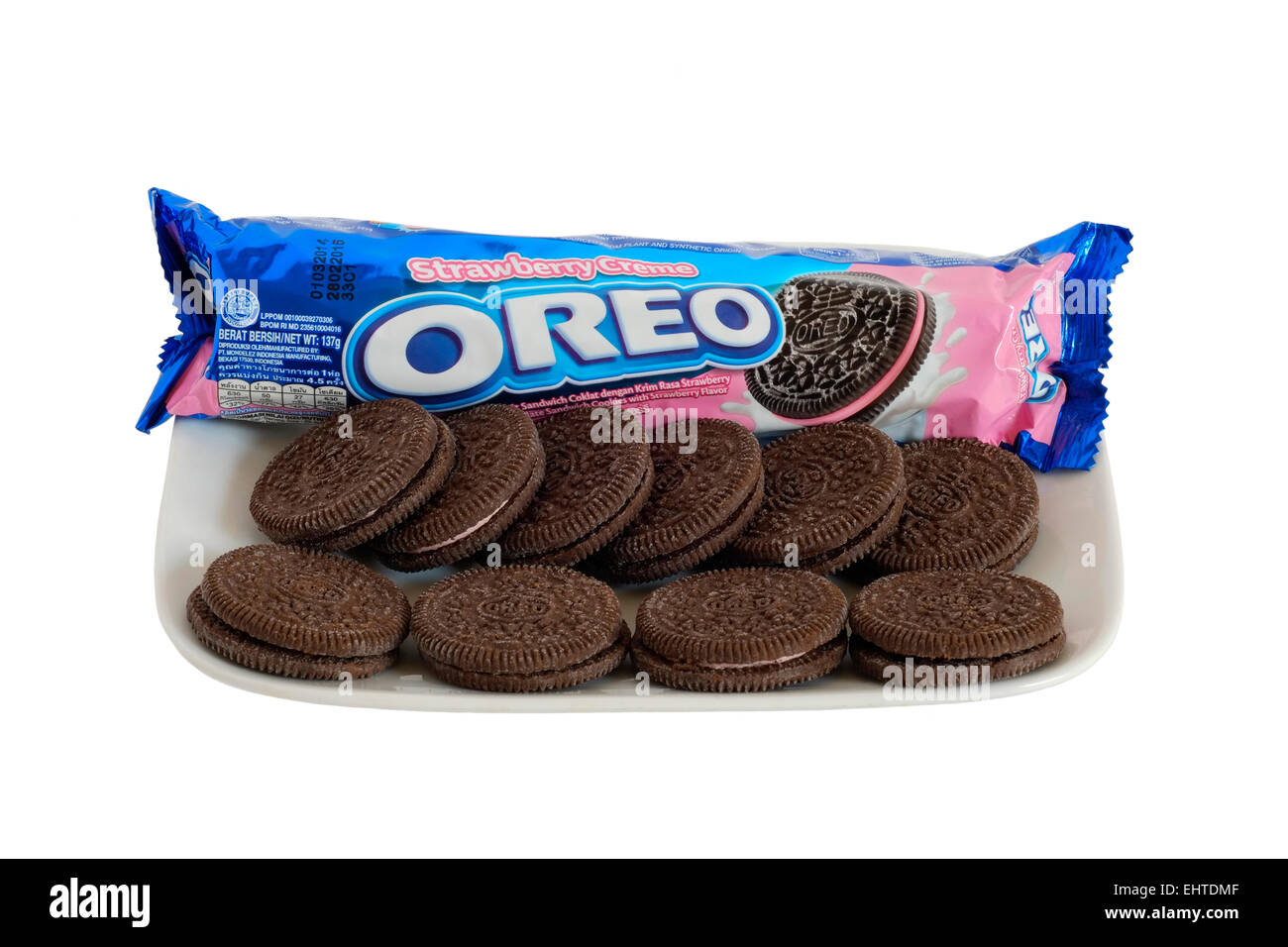 oreo strawberry creme flavoured biscuits from indonesia isolated on a Stock Photo: 79828239