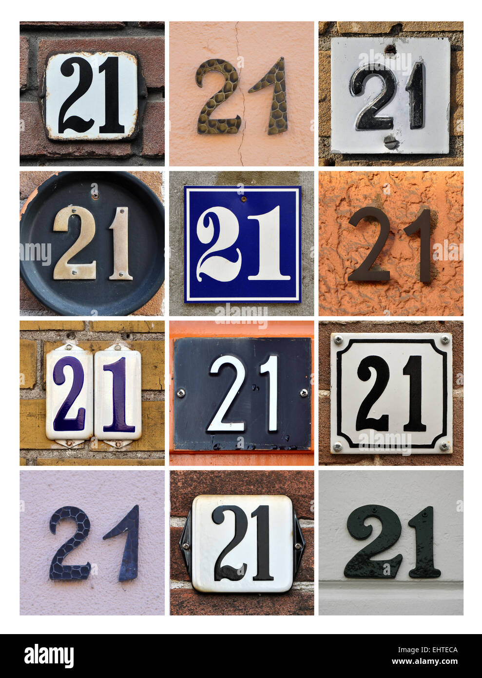 Number 21 - Collage of House Numbers Twenty-one - Stock Image