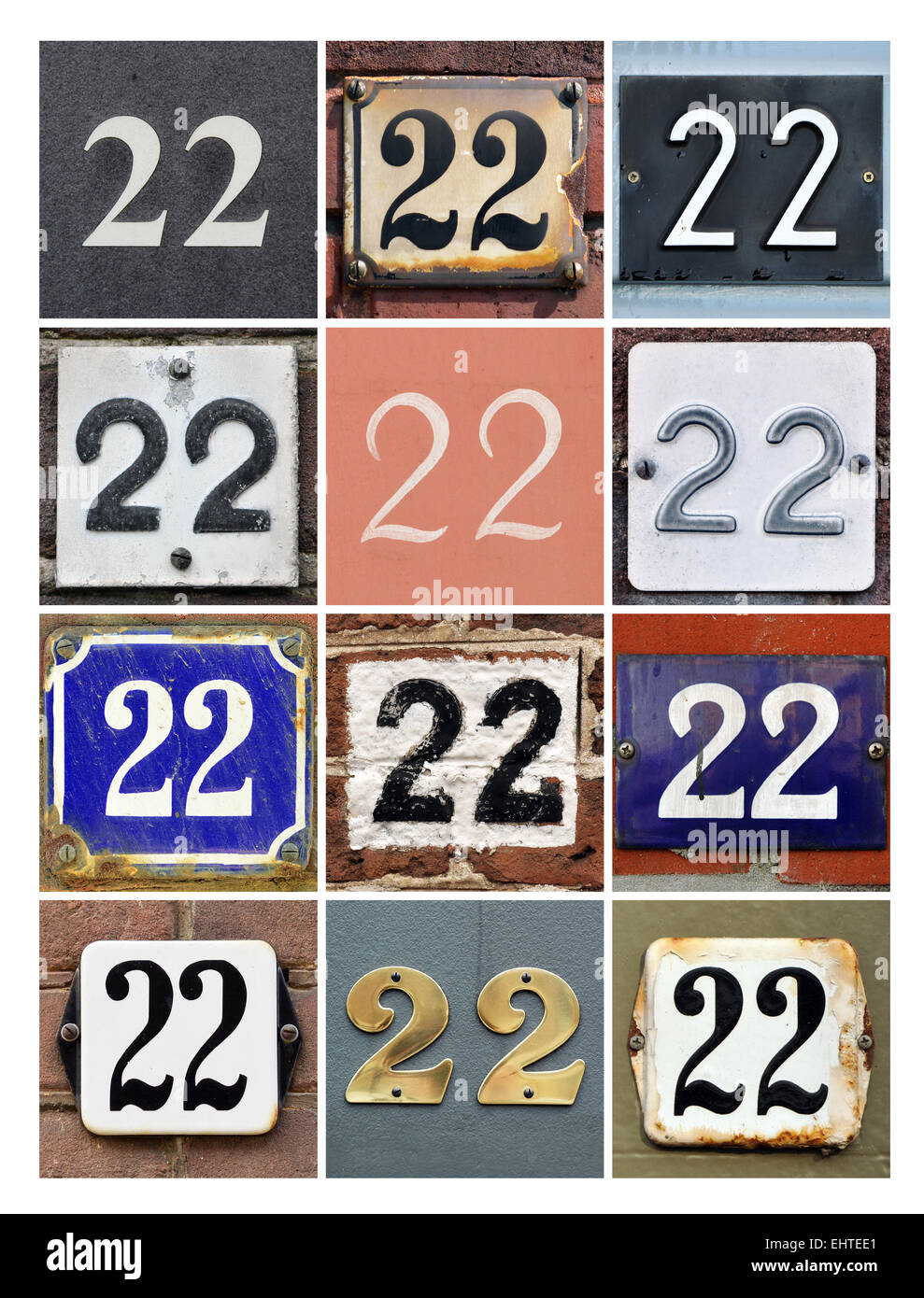 number 22 collage of house numbers twenty two stock photo