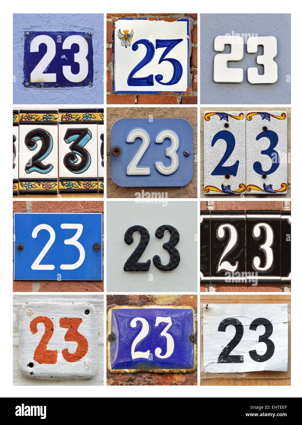 Number 23 - Collage of House Numbers Twenty-three - Stock Image