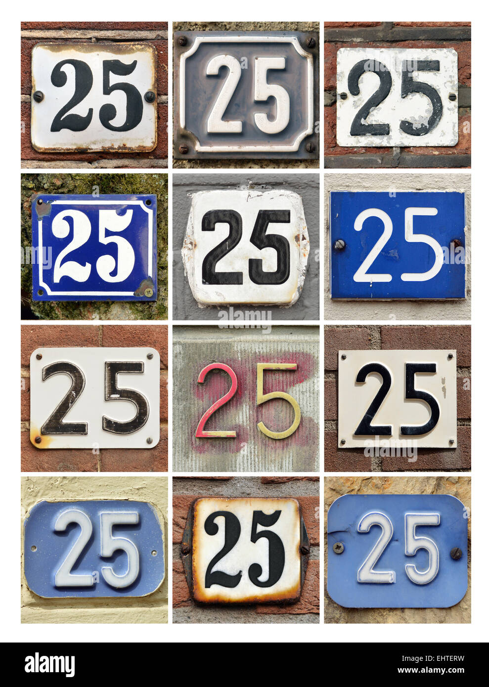 Number 25 - Collage of House Numbers Twenty-five - Stock Image