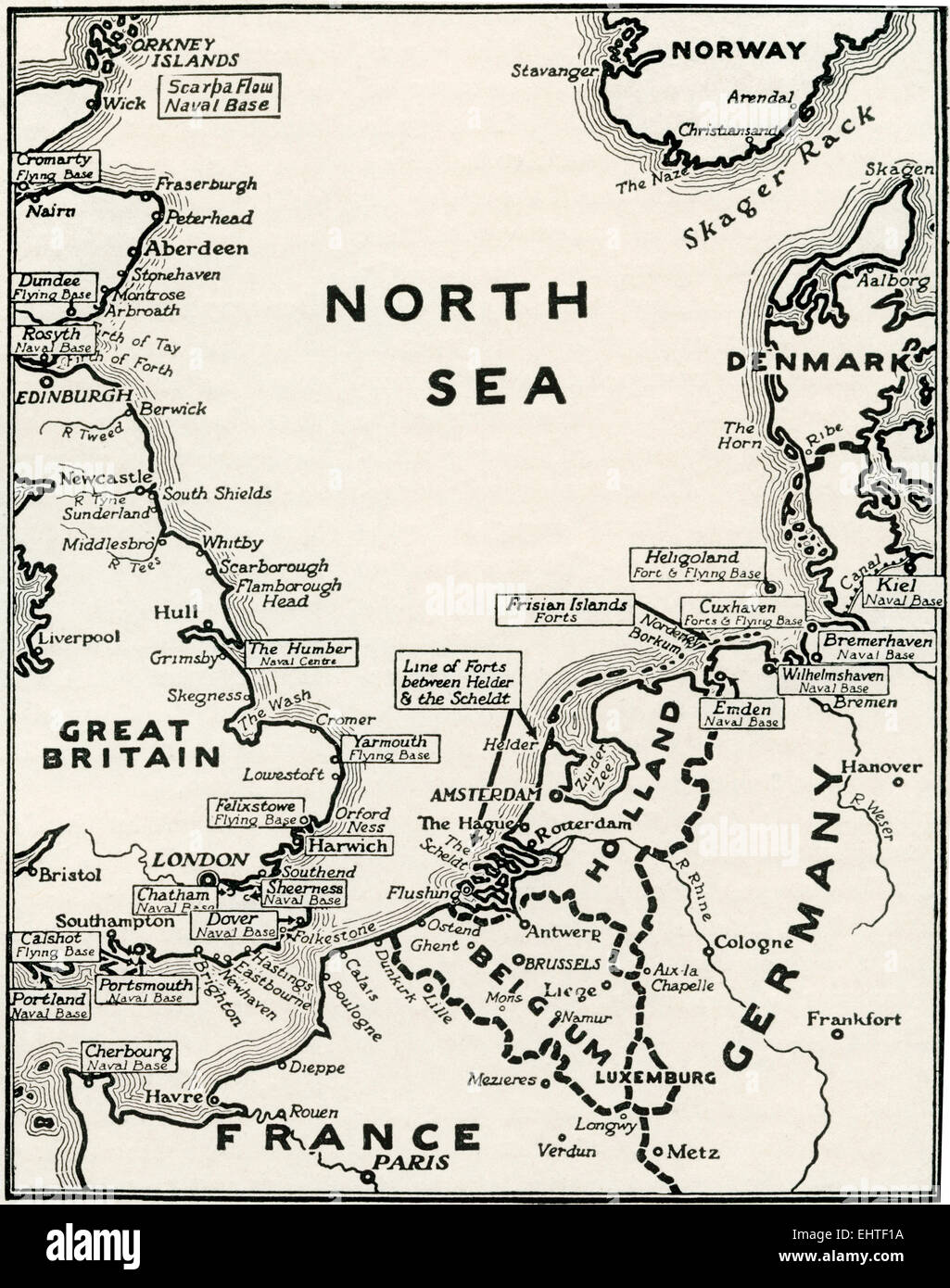 Map showing the naval bases of the North Sea during World War One. - Stock Image