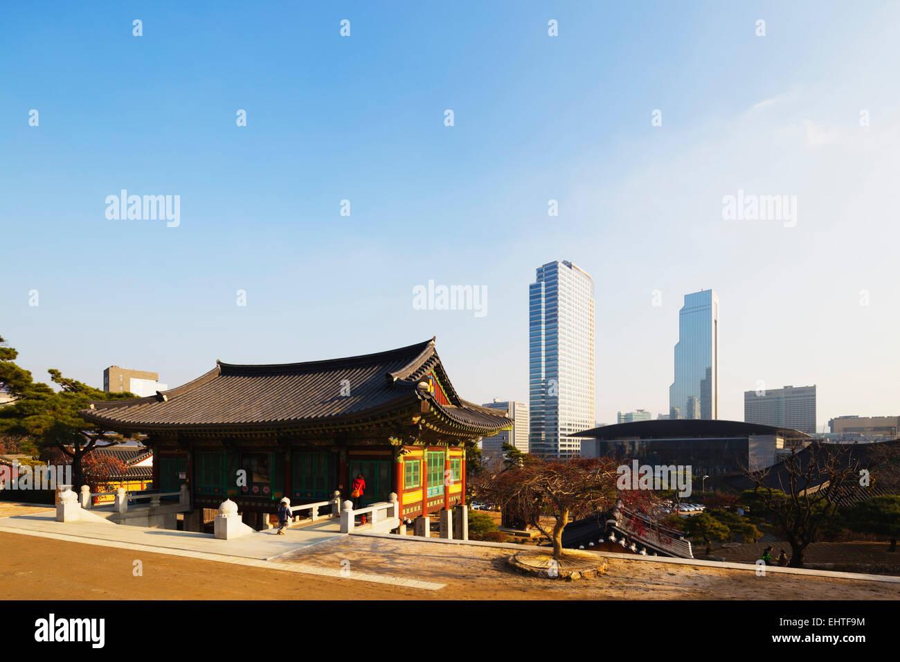 Asia, Republic of Korea, South Korea, Seoul, Bongeun-sa temple - Stock Image