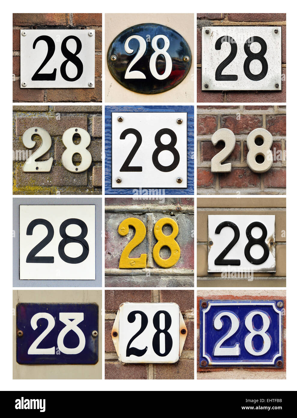 Number 28 - Collage of House Numbers Twenty-eight - Stock Image