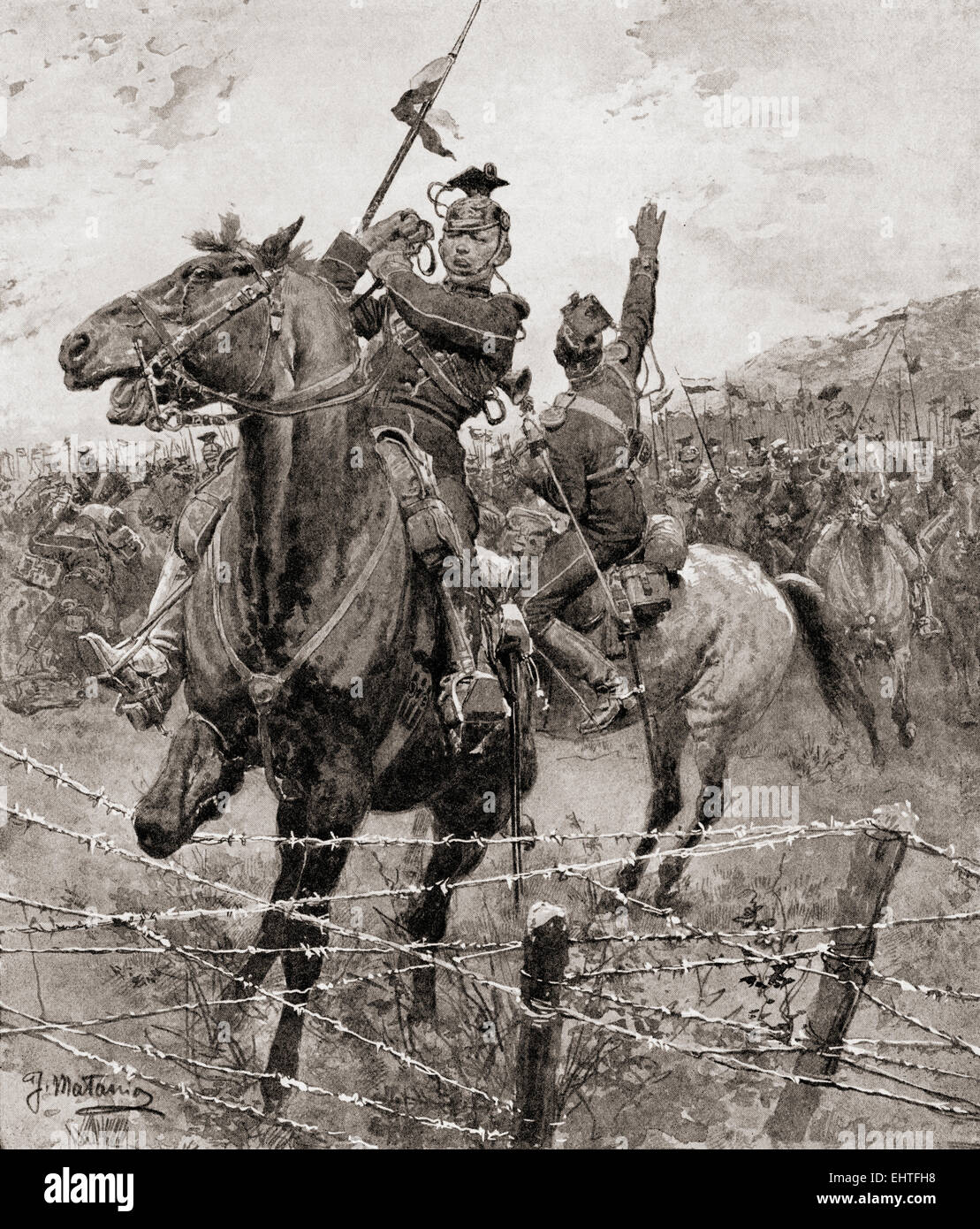 The German cavalry, the Uhlans, come up against barbed wire erected by the Belgians to stop their advance during - Stock Image