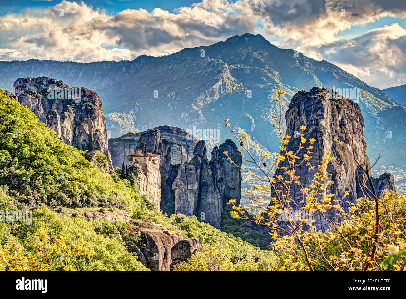 The Roussanou Monastery in the Meteora Monastery complex in Greece is dedicated to St. Barbara. - Stock Image