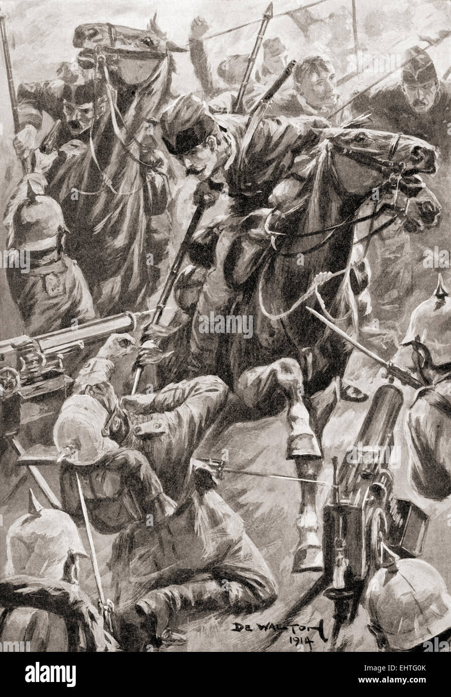 The charge of the Belgian lancers at The Battle of Haelen or Halen, also known as the Battle of the Silver Helmets, - Stock Image