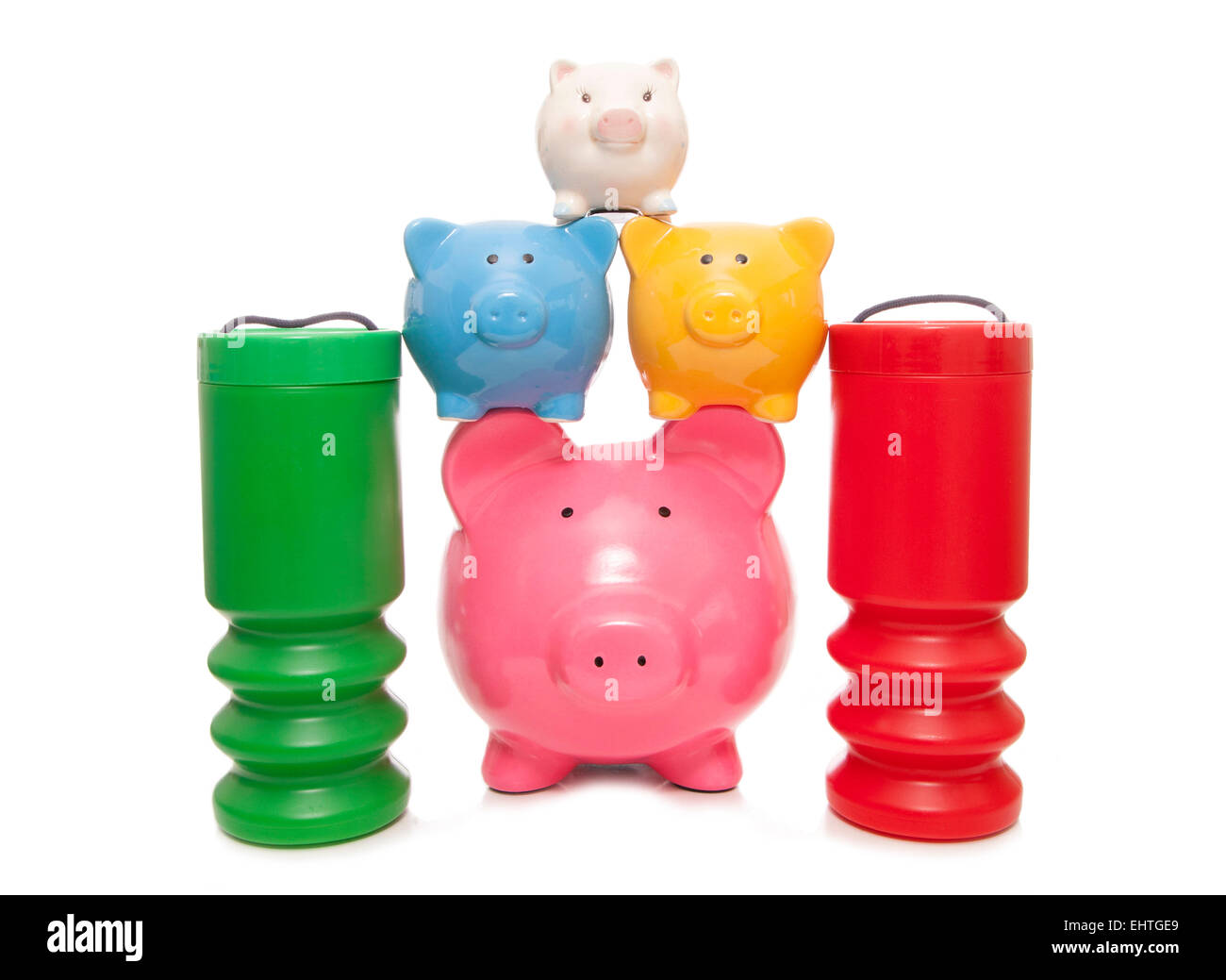 choosing to save or donate to charity cutout - Stock Image