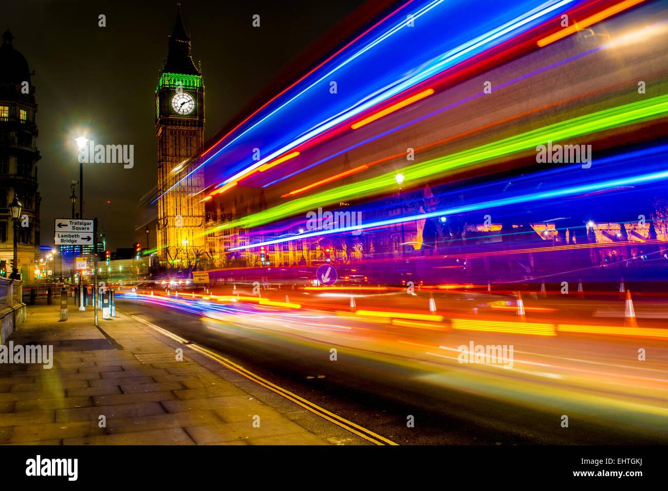 Buses Around Big Ben (2) - Stock Image