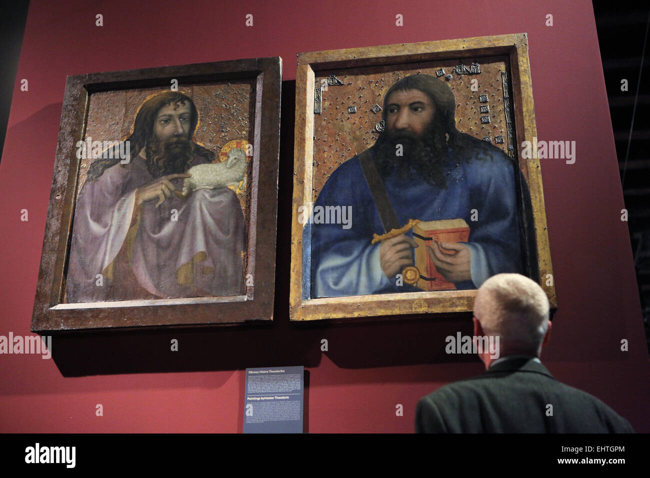 Saint John the Baptist (L) and Saint Simon the Zealot (R). Paintings by Master Theoderic from the Chapel of the - Stock Image