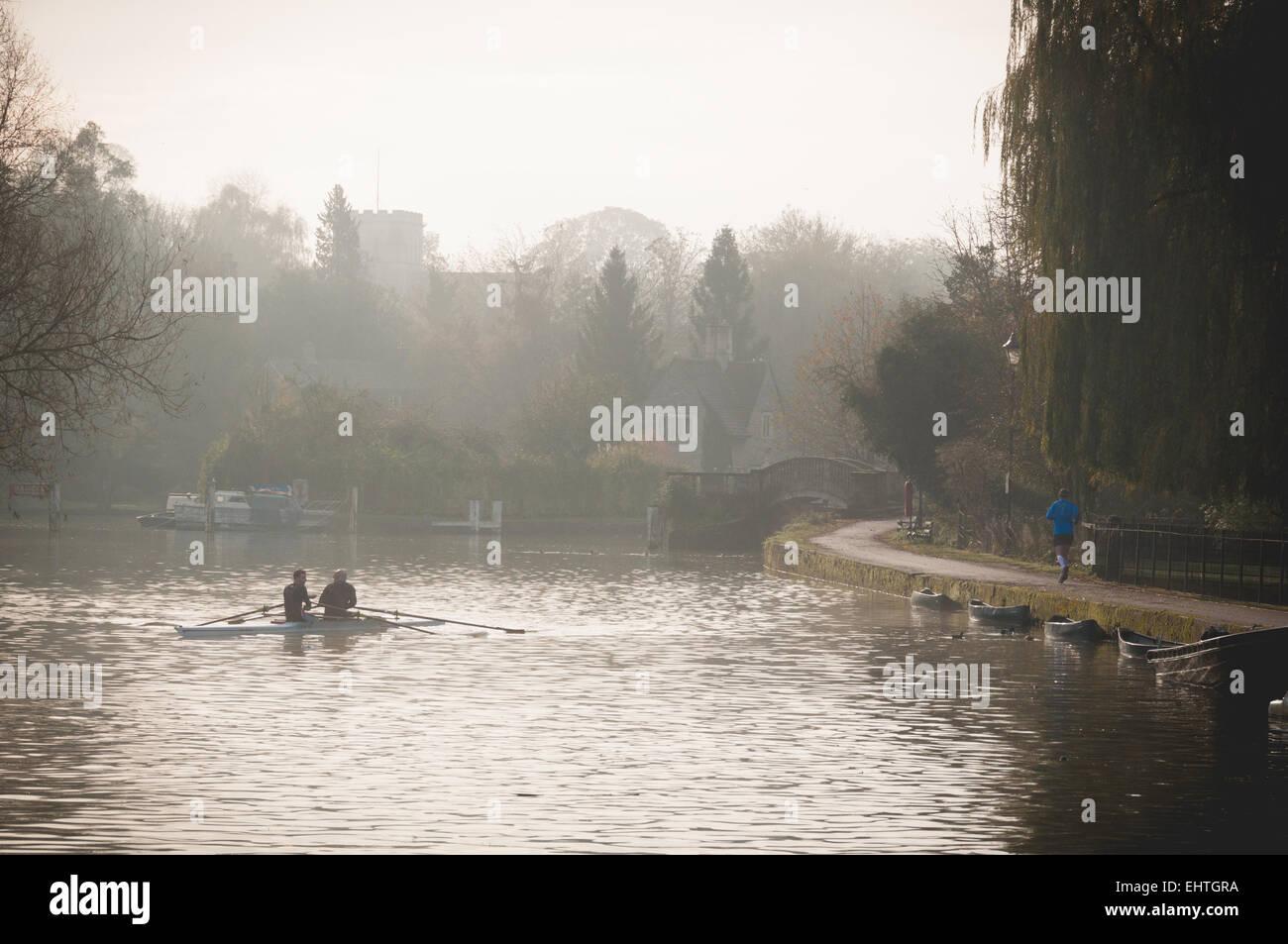Foggy morning in Iffley Lock, Oxford Stock Photo