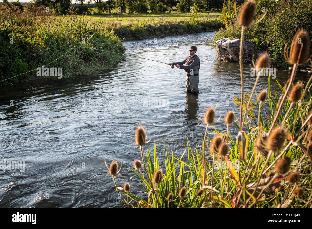FLY FISHING IN THE EURE (27), FRANCE - Stock Image