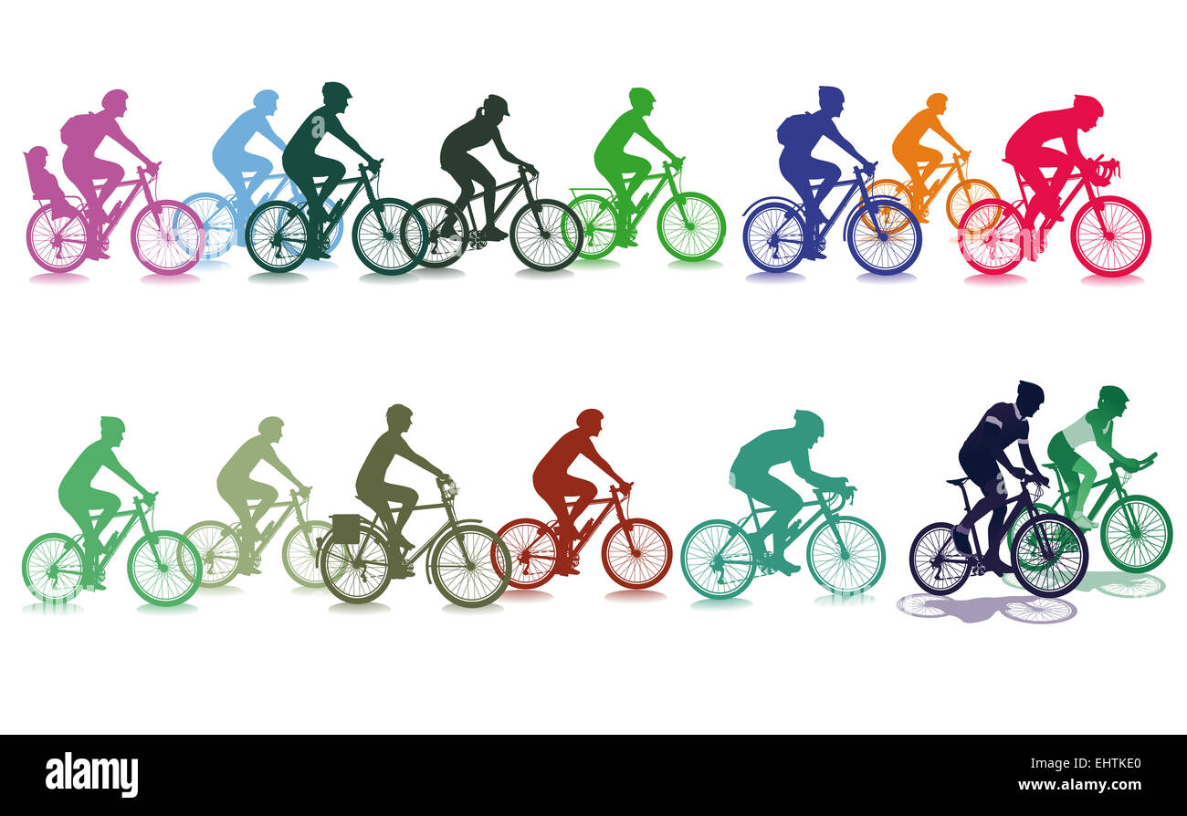 Cycling in the group - Stock Image