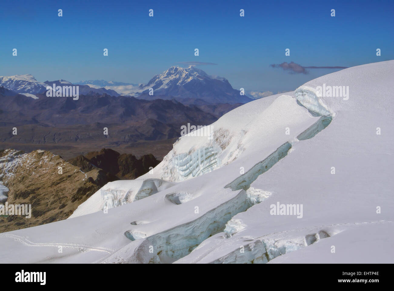 Picturesque view from near top of Huayna Potosi mountain in Bolivia - Stock Image