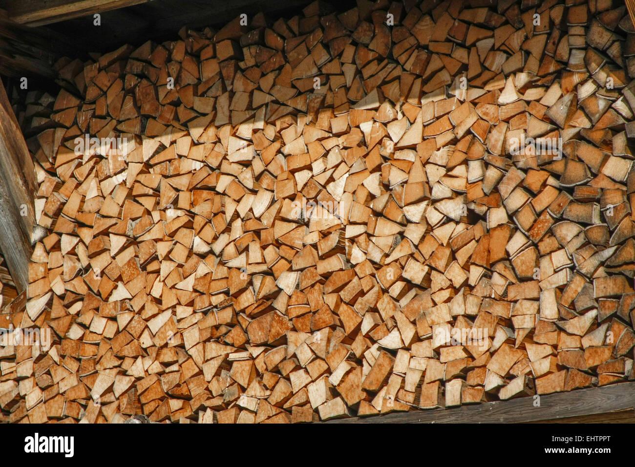 FIREWOOD IN HAUTE-SAVOIE (74), RHONE-ALPES, FRANCE Stock Photo