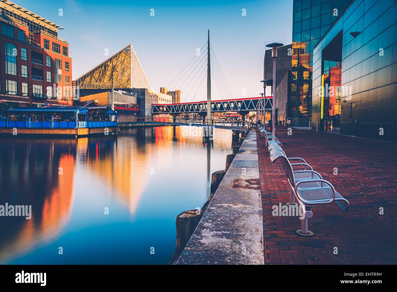 Long exposure of the Waterfront Promenade and the National Aquarium in Baltimore, Maryland. - Stock Image