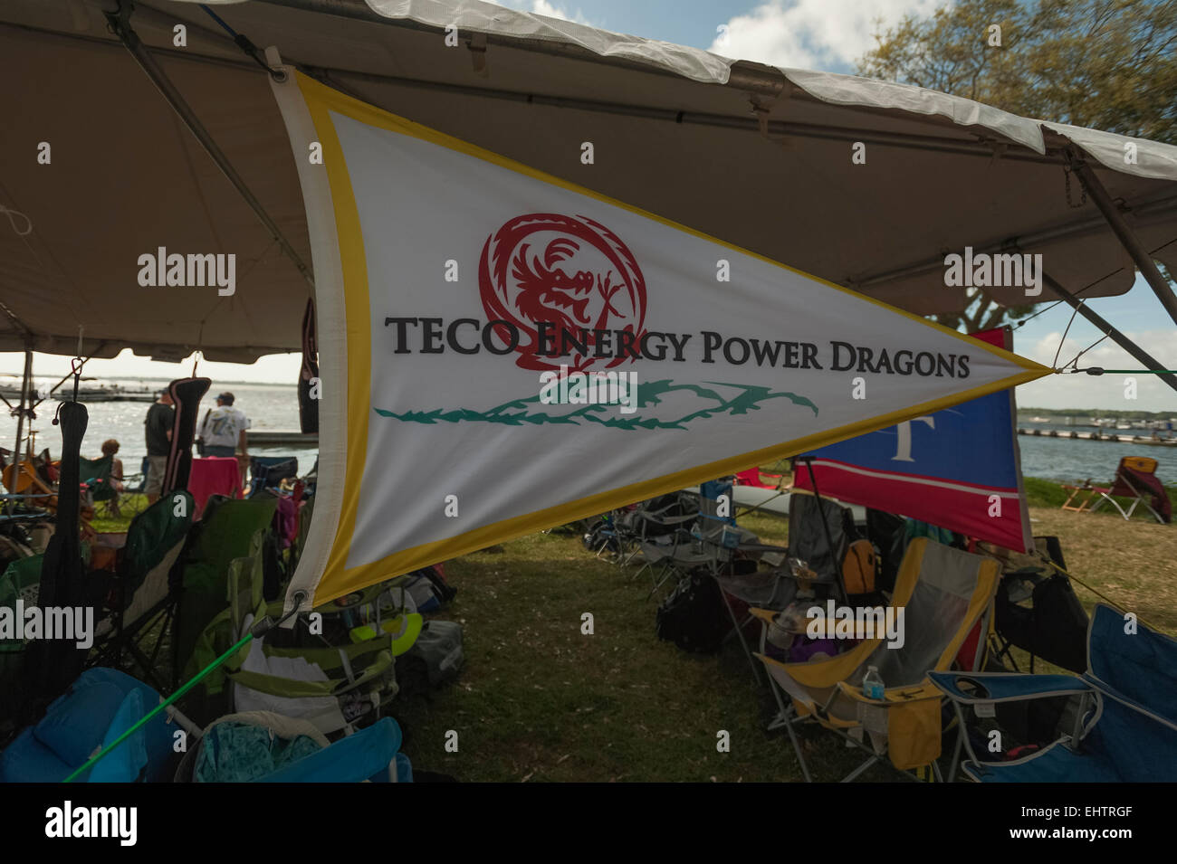 A flying banner at the Dragon Boat Races in Tavares, Florida USA - Stock Image