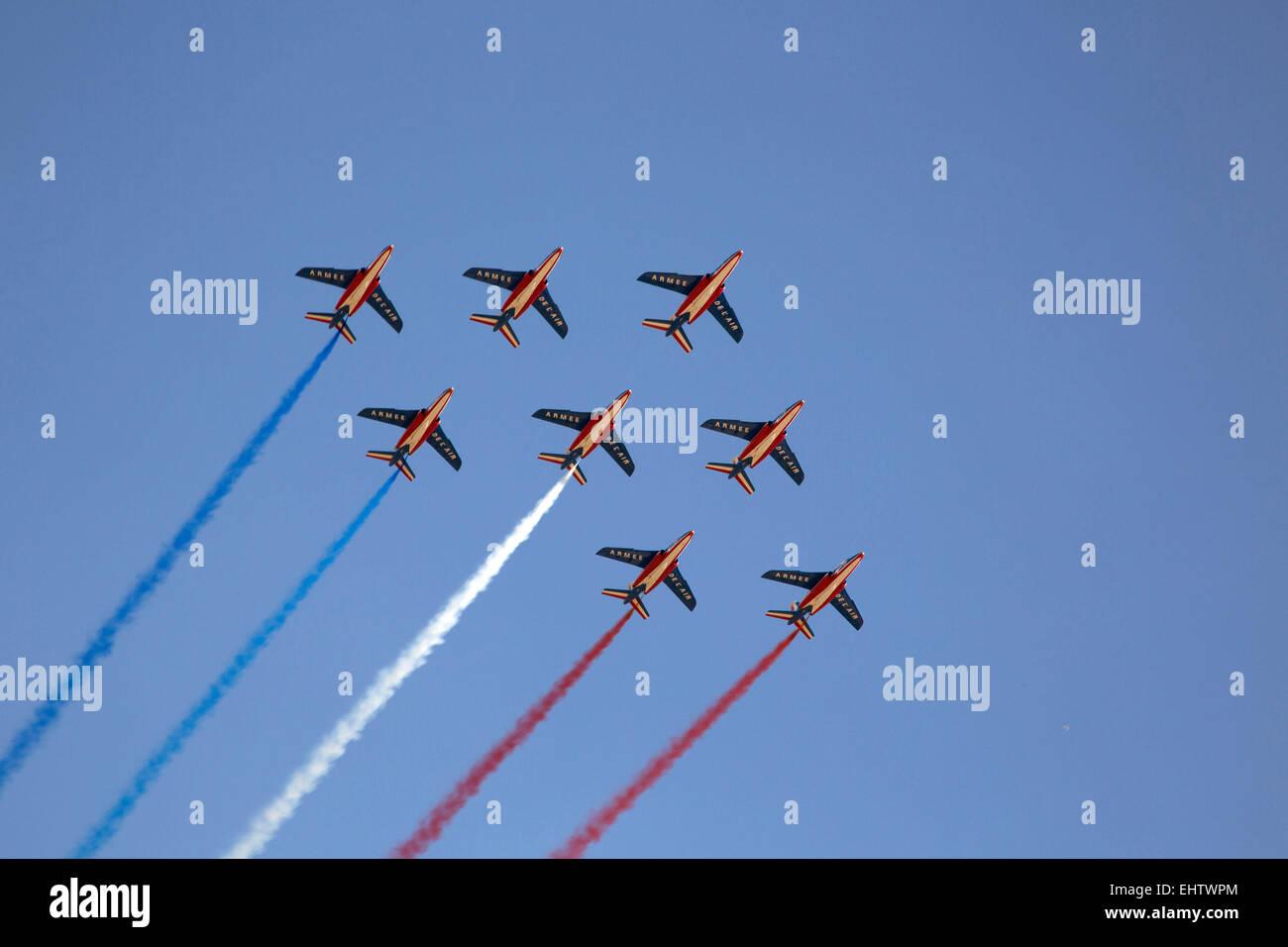 PATROUILLE DE FRANCE AIR ACROBATICS TEAM - Stock Image