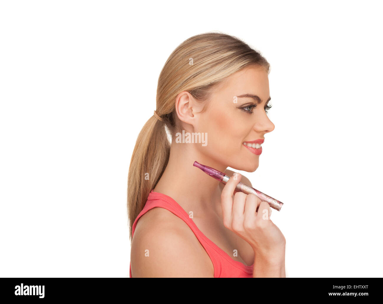 Young Woman Smokin Electic Cigarette Stock Photo