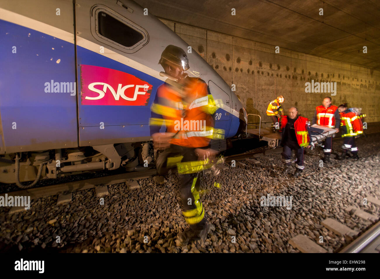 SIMULATION OF RAILWAY ACCIDENTS - Stock Image