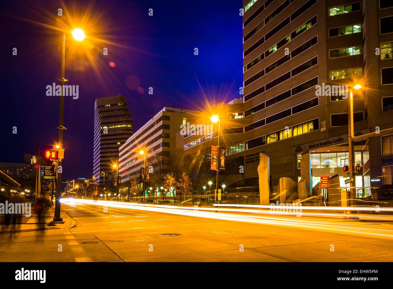 Traffic on Pratt Street at night in Baltimore, Maryland