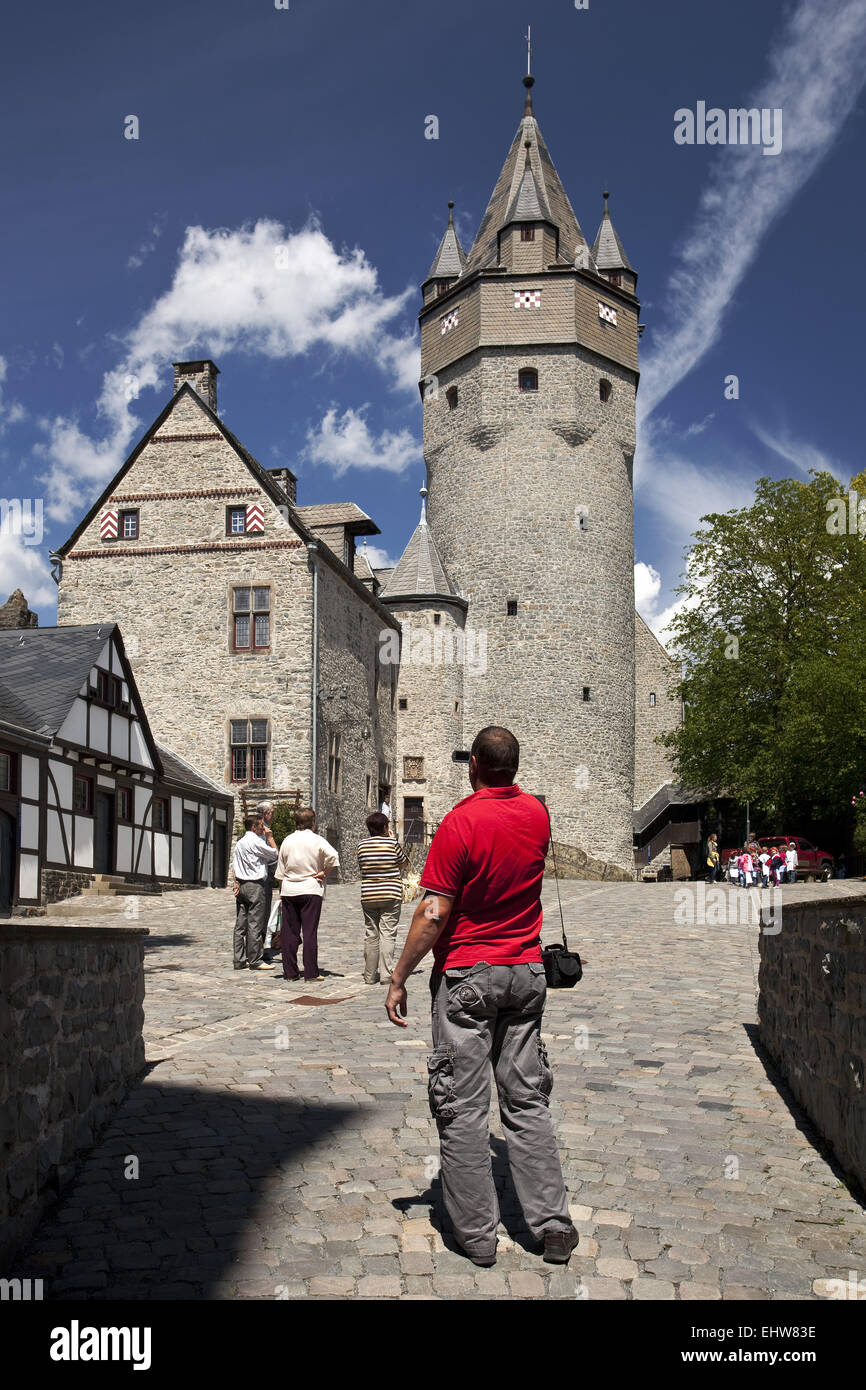 Visitors to the castle of Altena, Germany - Stock Image