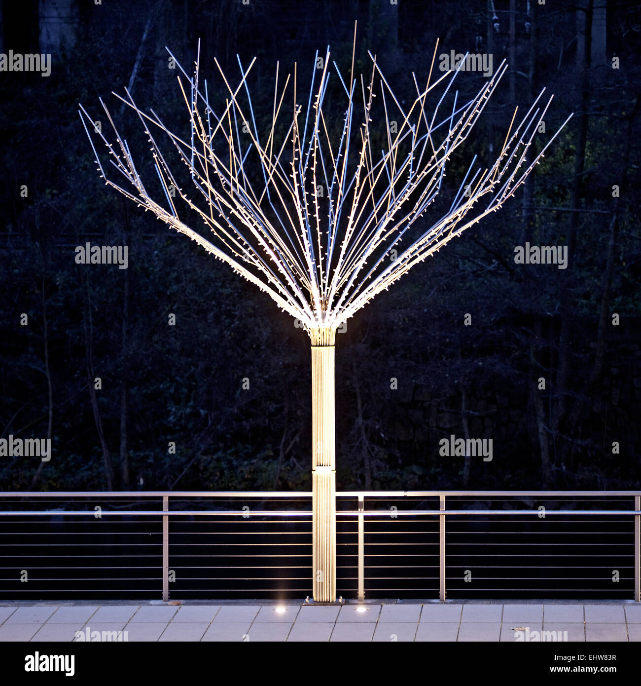 One the illuminated tree of metal in Altena - Stock Image