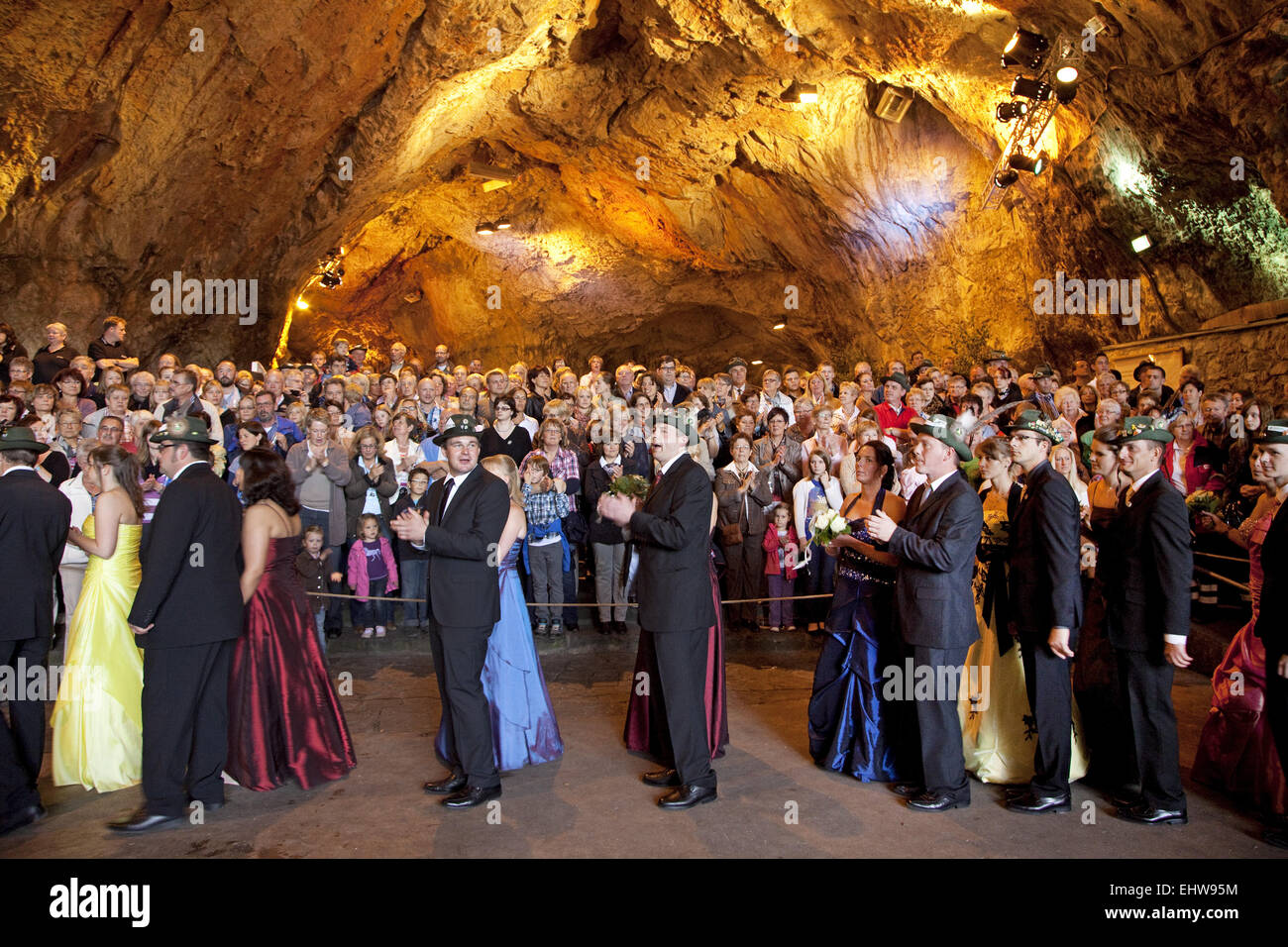 Marksmen in the Balve cave. - Stock Image